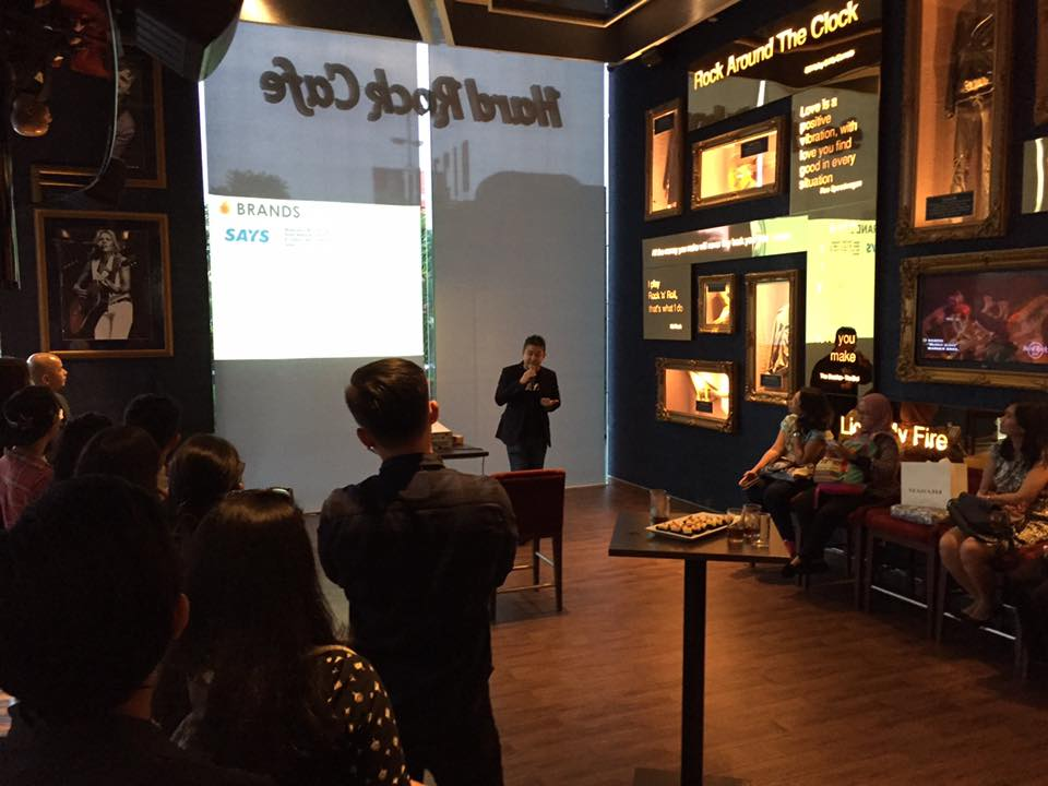 Managing Director of REV Asia, Voon Tze Khay speaking at the SAYS Indonesia launch at Hard Rock Cafe Jakarta on 28 April 2016.