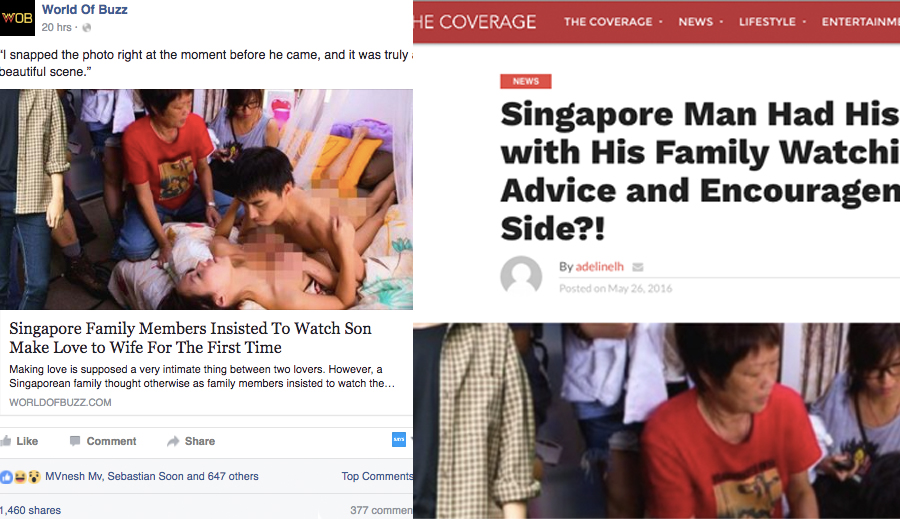 Screengrab of World Of Buzz's report on Facebook (left) and screengrab of the story on The Coverage (right).