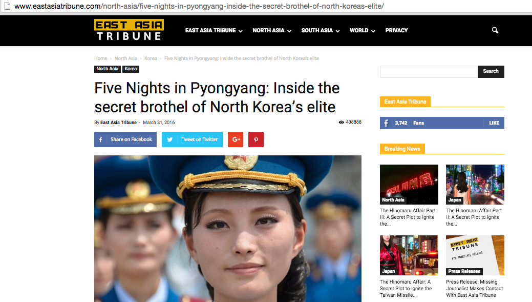 A screengrab of the East Asia Tribune website.