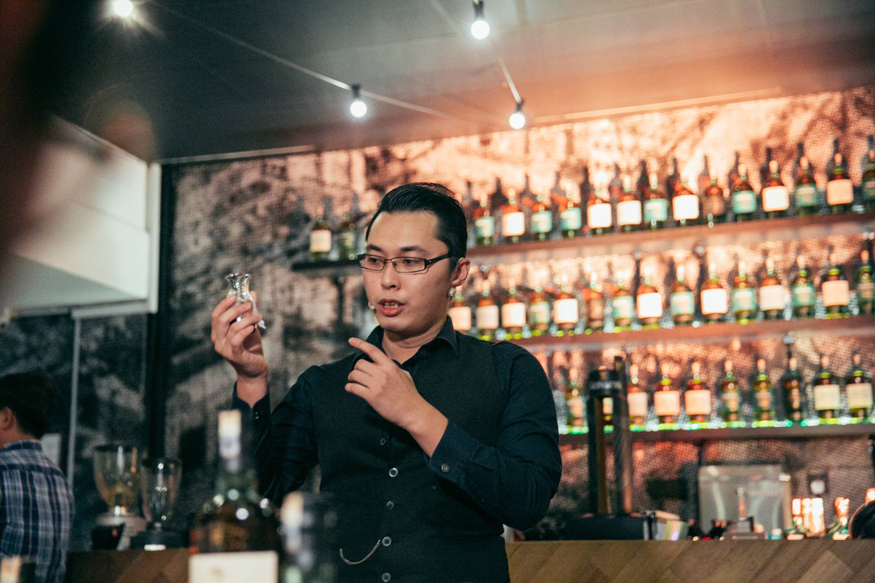 Mixologist Kelvin Lee, one of the specialists in town commissioned by Coffex Coffee to explore the boundaries of flavour working his magic.