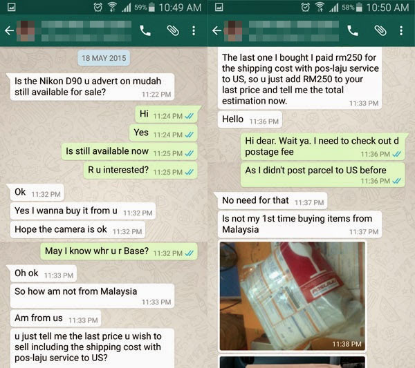 Example of a conversation between a buyer who claims to be from another country.