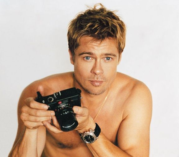 Brad Pitt with his Leica camera