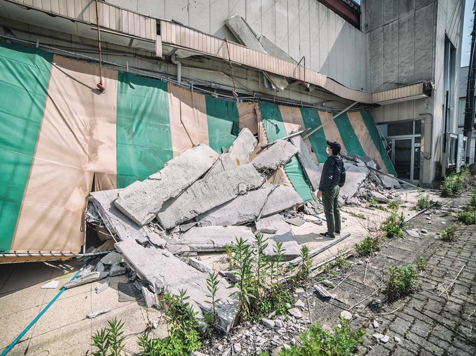 Part of a building's structure collapsed during the earthquake.