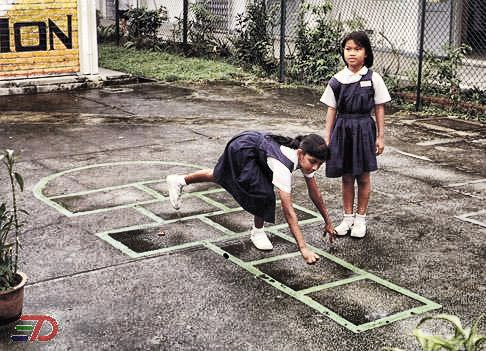Hopscotch, or we call it, 'ketingting'.