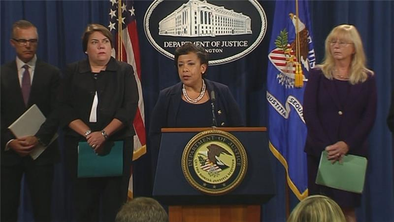 US Attorney General Loretta Lynch speaking at a press conference in Washington DC.