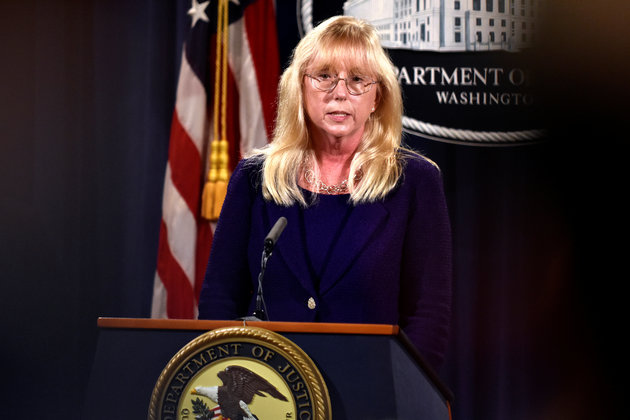 Attorney of the Central District of California Eileen Decker briefs reporters at a press conference in Washington on 20 July.