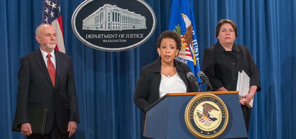 The US Attorney General Loretta E. Lynch (centre) discusses the 1MDB case last Wednesday, 20 July.