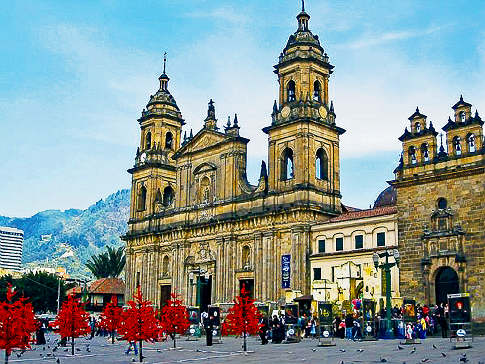 The Bogotá Cathedral, on Plaza Bolívar, in the capital city of Colombia.
