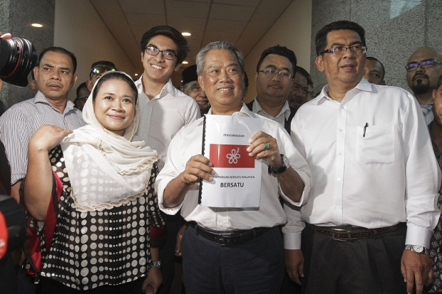 Tan Sri Muhyiddin Yassin and the main leaders of the new Parti Pribumi at the ROS headquarters yesterday, 9 August