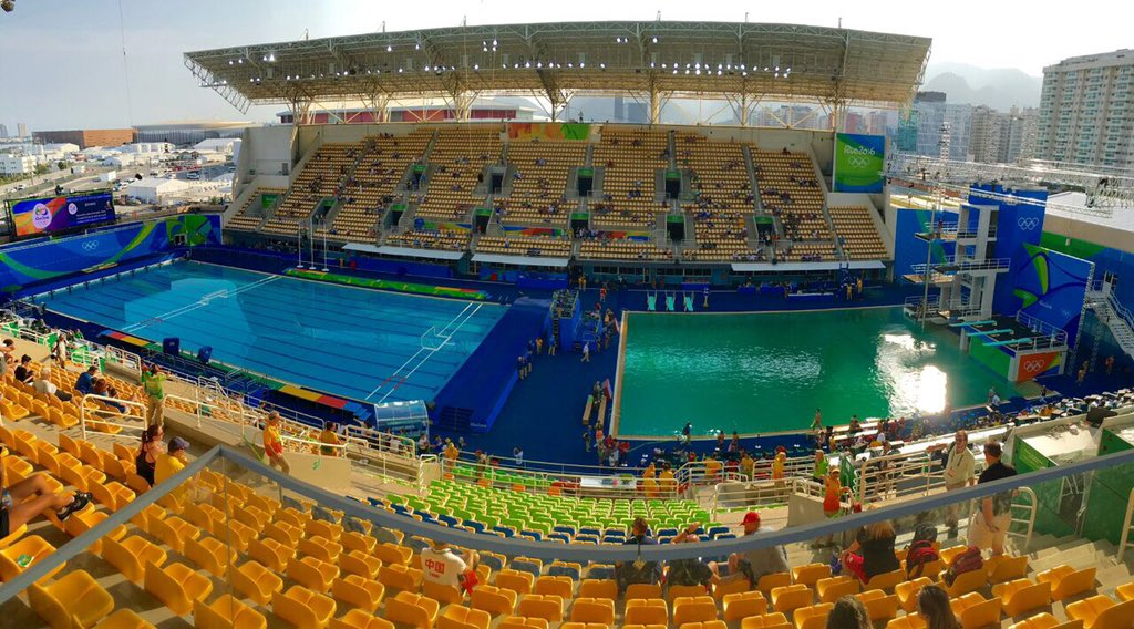 British diver Tom Daley tweeted the image above on Tuesday, 9 August, where the water polo pool (left) was still in pristine condition as compared to to the diving pool.