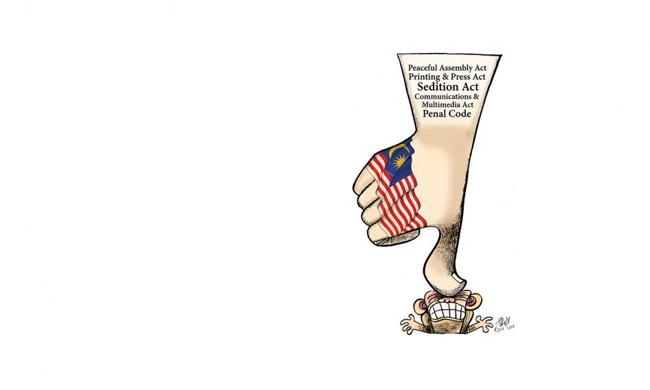 Popular cartoonist, Zunar's depiction of the ongoing clampdown on freedom of speech and expression in Malaysia.