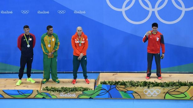 Phelps shared the silver medal with Laszlo Cseh and Chad le Clos.
