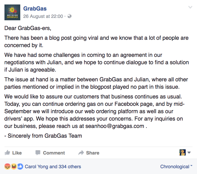 Image from GrabGas Facebook