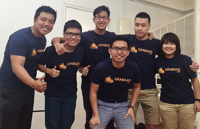 The GrabGas executive team (l-r): CFO Gabriel Lim; head of design Samson Cheong; COO Jeson Lee; CEO Sean Hoo; CTO Julian Ee; and head of vendors Tan Suet Keem.