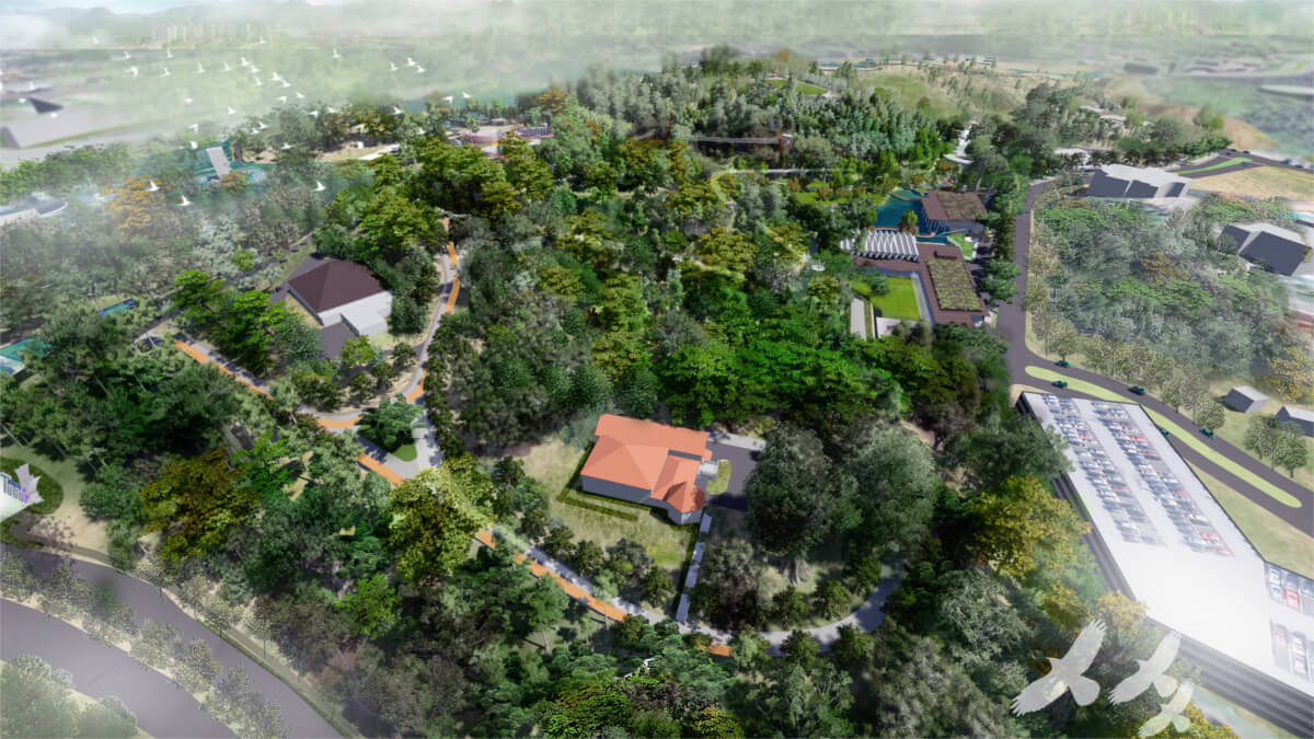 An artist impression of the aerial view of Taman Tugu.