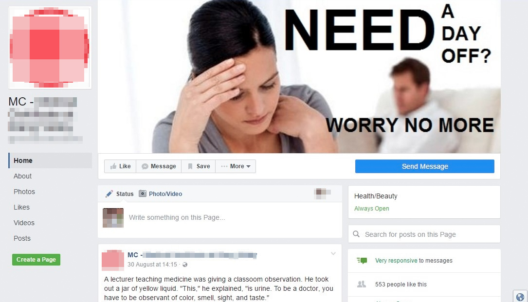 The suspected MC scam's Facebook page.