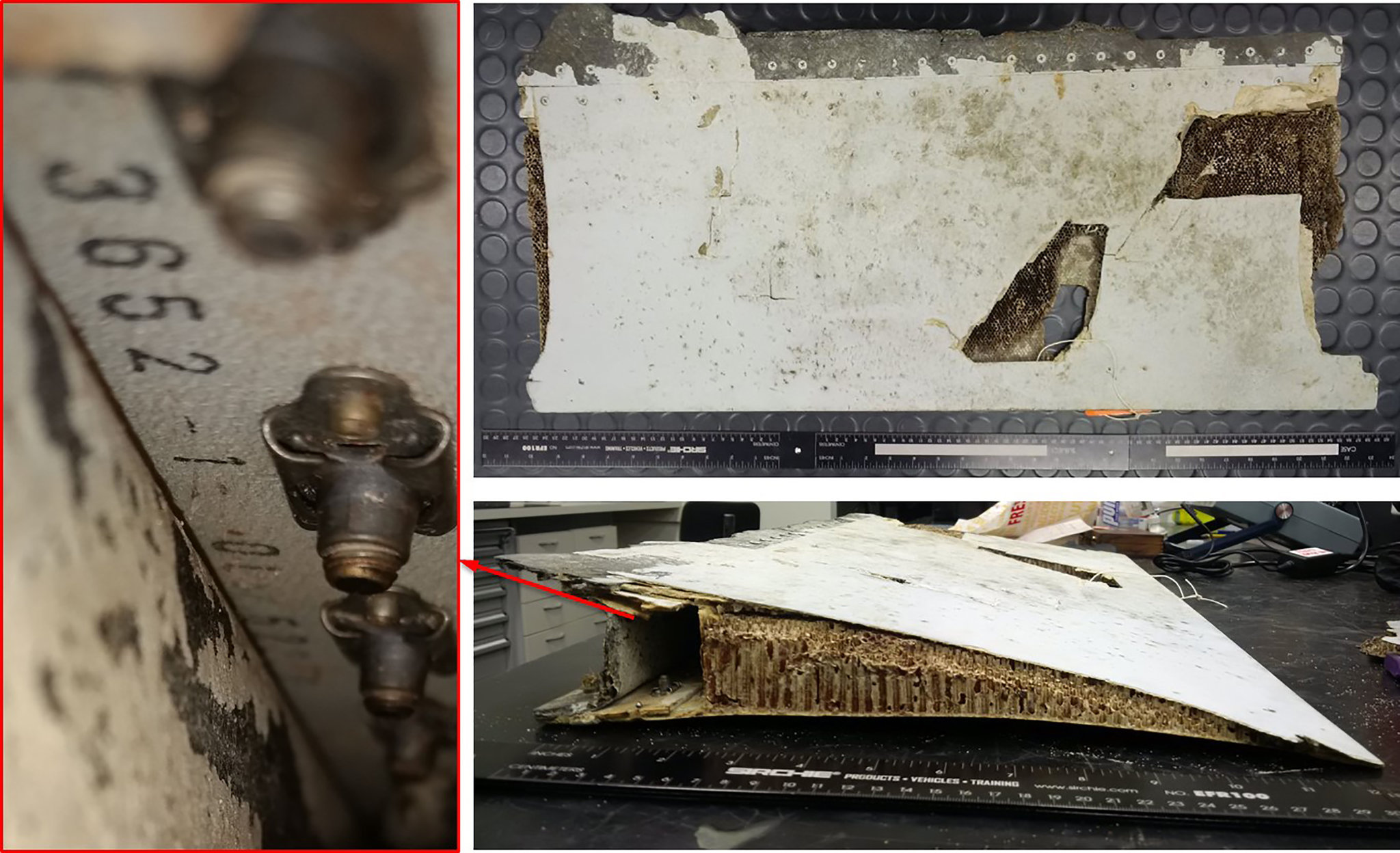 A piece of debris identified by the Australian Transport Safety Bureau as having come from the left wing of MH370.