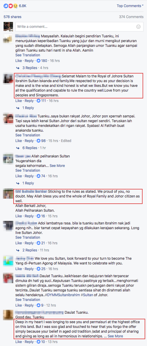 Screenshot of a collection of comments posted by people on Sultan Johor's Facebook post.