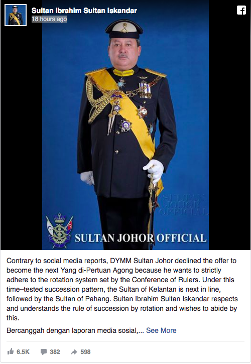 Screenshot of the Johor Sultan's post on his official Facebook page.