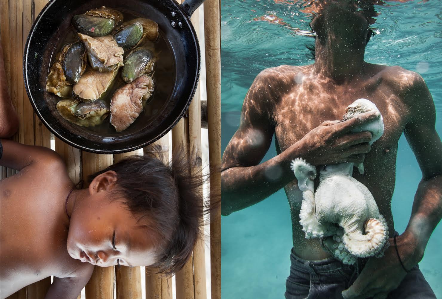 Photographer Matthieu Paley captured the true essence of the Bajau Laut community's way of life - A Bajau baby napping beside a pot of fresh abalone and a fisherman clutching his catch of the day.