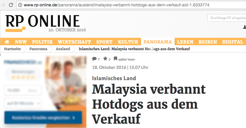 The headline roughly translates into: 'Malaysia prohibits the sales of hot dogs'.