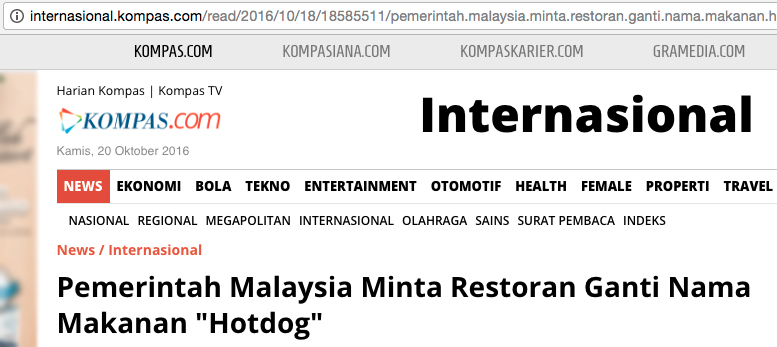 The headline roughly translates into: 'The Malaysian government asks restaurant to rename