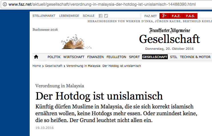 The headline roughly translates into: 'The hot dog is un-Islamic'.