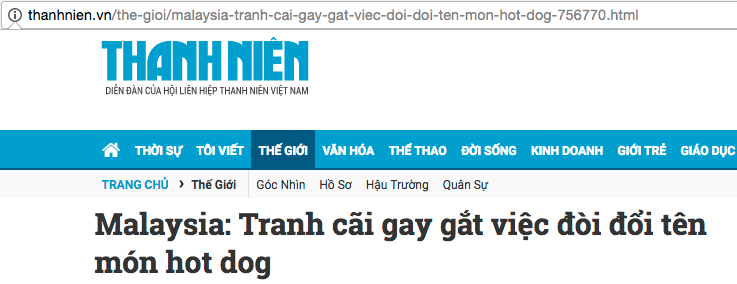 The headline roughly translates into: 'Intense debate on request to change the name of 'hot dog''.