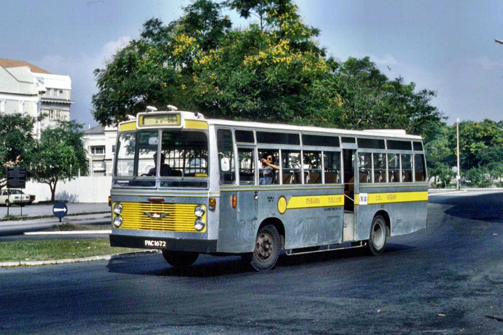 A Penang Yellow Bus Company by Hino Motors with Seng Seng bodywork photographed by Ian Lynas near Fort Cornwallis in 1979.
