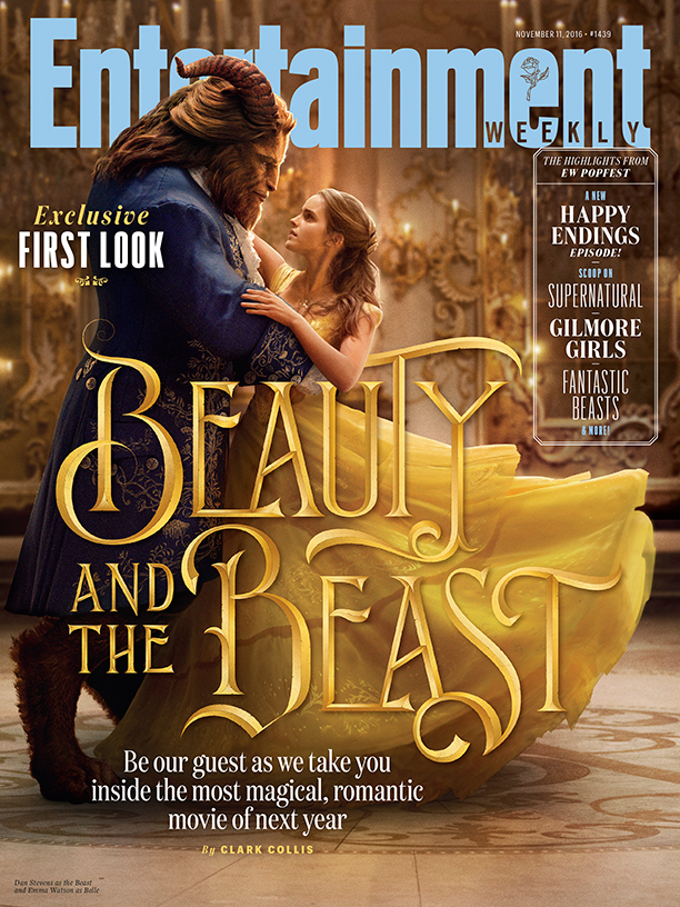 The Beast (right, played by Dan Stevens) and Belle (left) in the iconic ballroom scene.