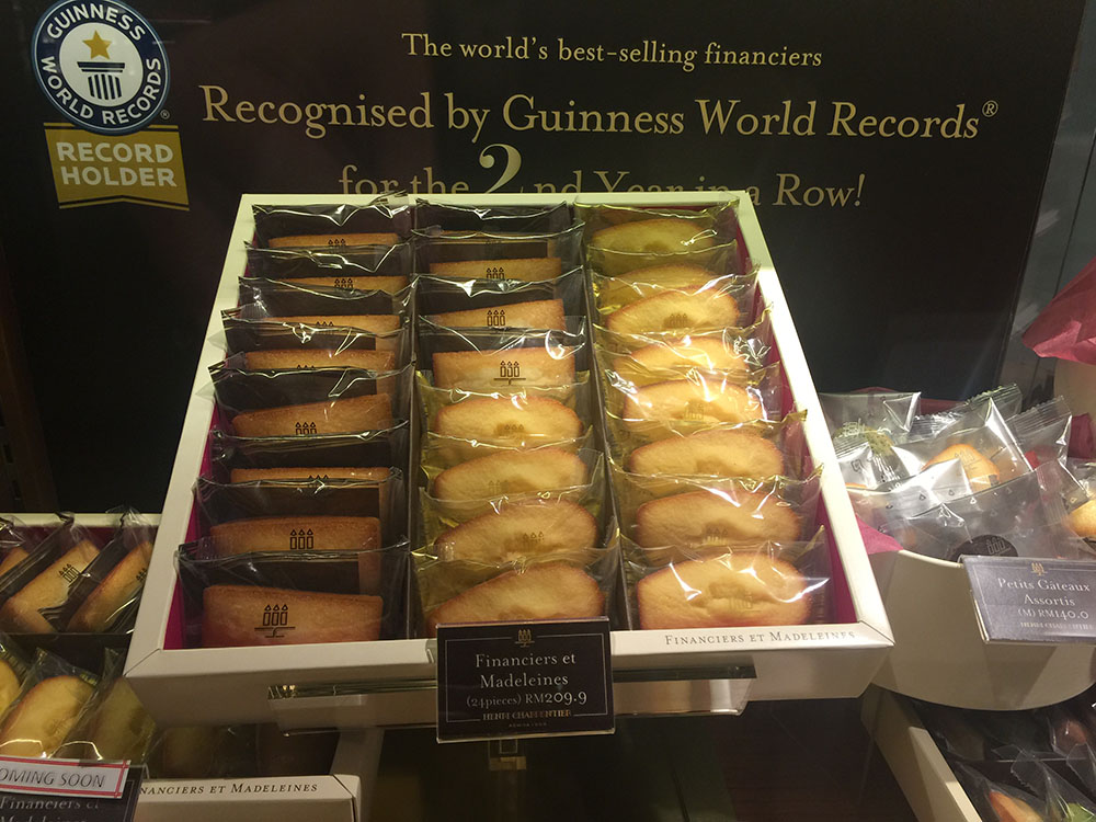 Financiers et madeleines at RM209.90 for 24 pieces.