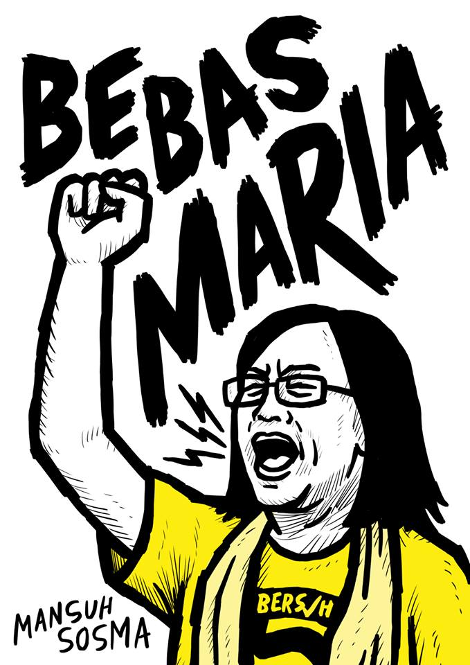 Activist and graphic designer's show of support for Maria Chin's release.