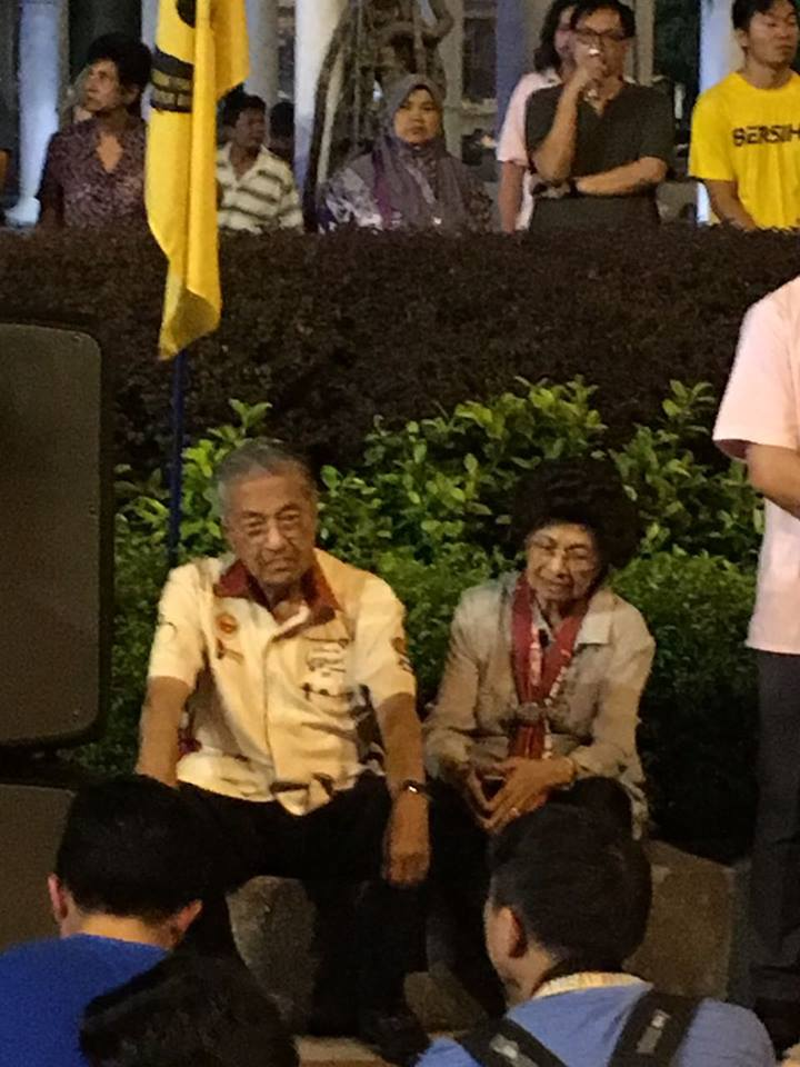 Tun Dr Mahathir and wife, Tun Dr Siti Hasmah at the candlelight vigil for Maria last night.