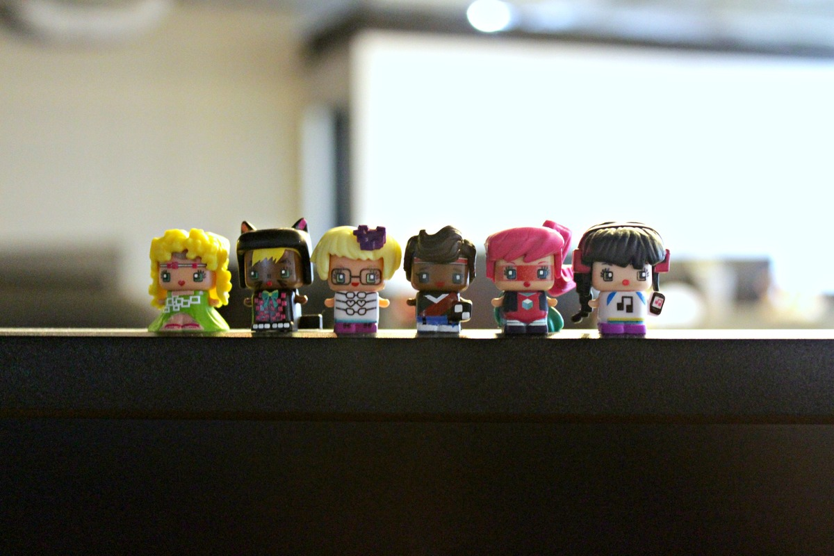 From left to right: Glam Hippie, Black Cat, Glasses Girl, Soccer Boy, Masked Hero and DJ.