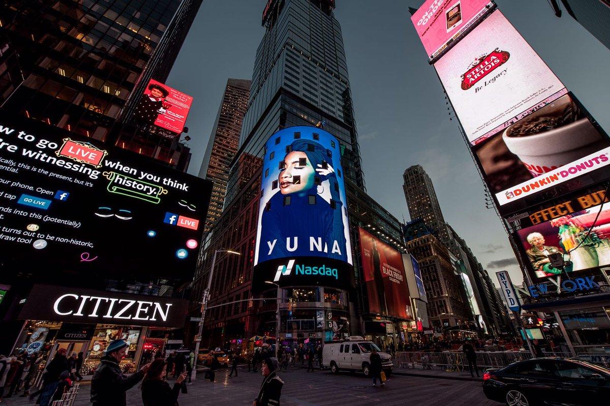 Yuna's NASDAQ billboard ad in Times Square, New York.