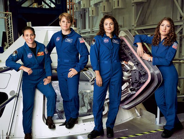 From left to right: Nicole Aunapu Mann, Anne McClain, Jessica Meir, and Christina Hammock Koch
