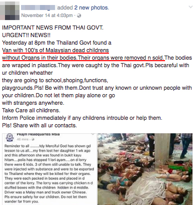 An example of a social media post about the alleged smuggling of Malaysian children in order to sell their organs.