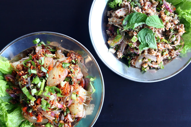 Pomelo Salad (left), Minced Pork Salad (right)