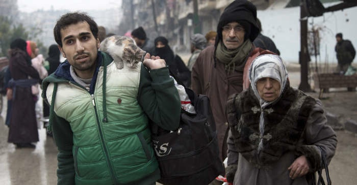 Refugees fleeing Aleppo.