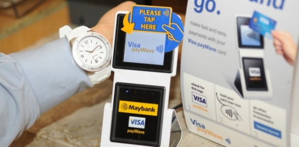 A Visa payWave terminal under Maybank
