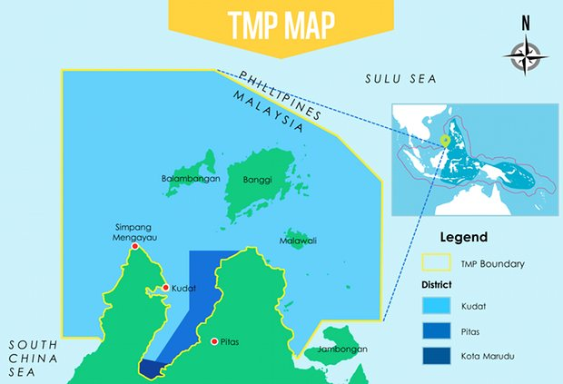 A map of the new Tun Mustapha marine protected area, which occupies just under one million hectares of seascape, including more than 50 islands.
