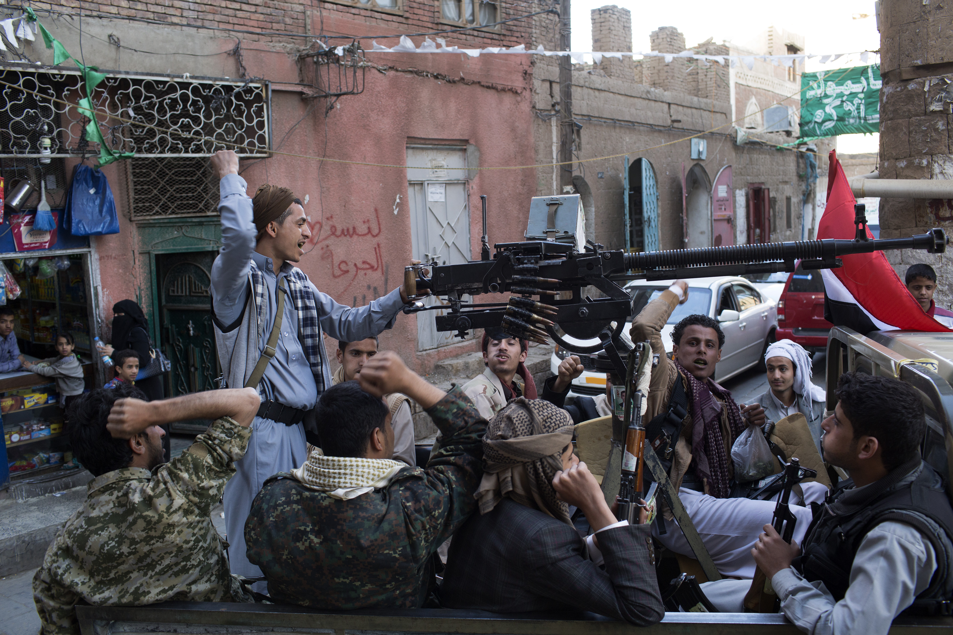 Houthi fighters in Sana'a.