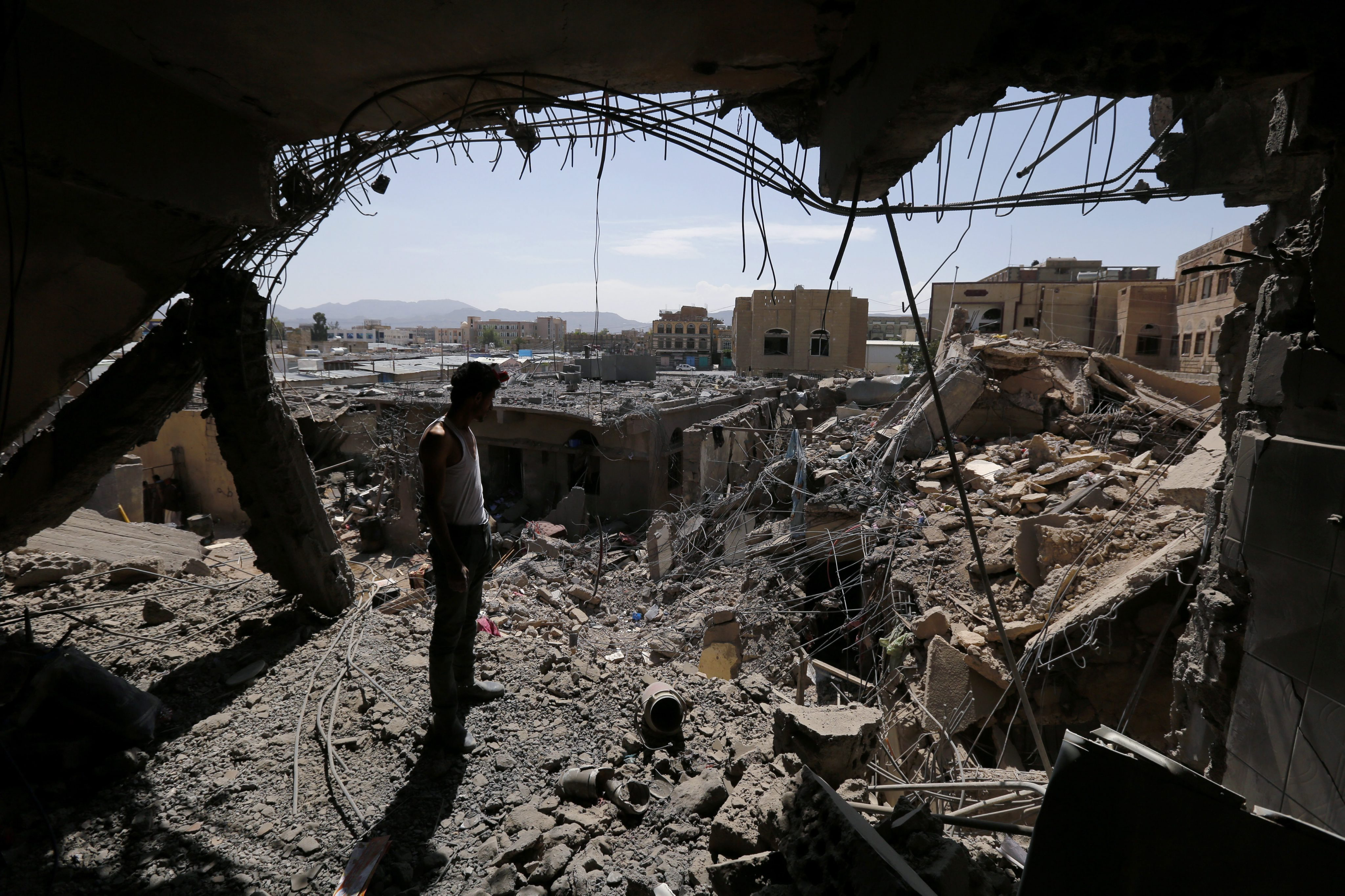 A house in Sana'a destroyed after a Saudi-led coalition airstrike in 2015.