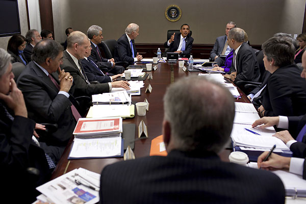 President Barack Obama meets with his national security team in the Situation Room of the White House in 2010.