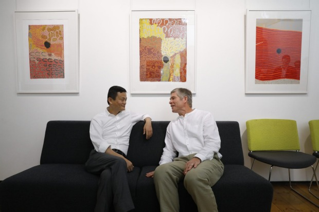 Jack Ma and David Morley in Newcastle on Friday before the announcement.