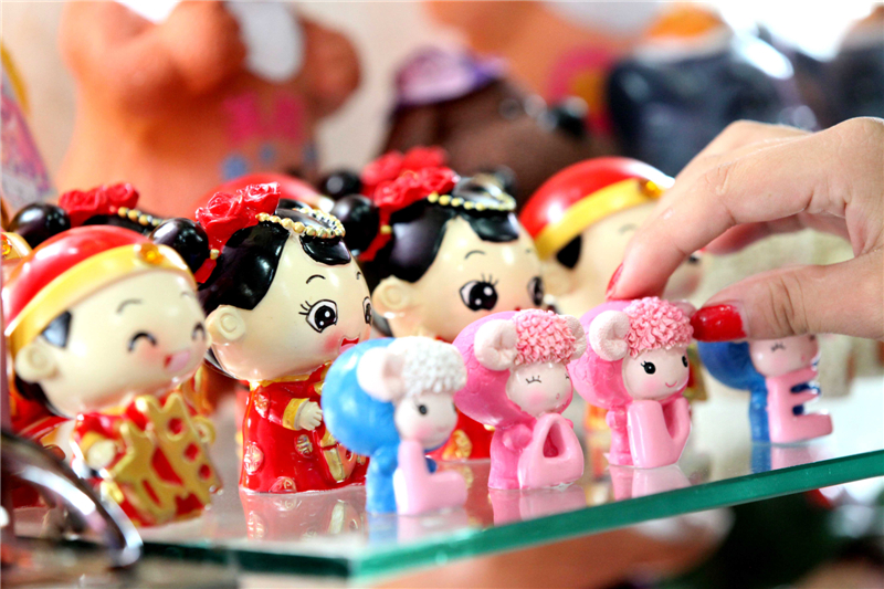 Ornaments for Qixi Festival on display in China.