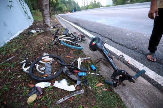 Remnants of the damaged bicycles involved in the accident.