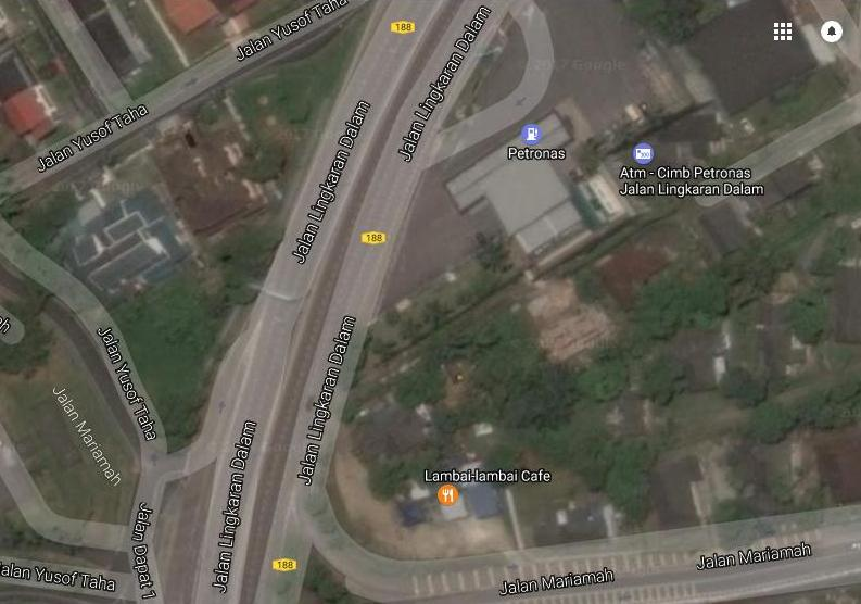 A satellite image of Jalan Lingkaran Dalam, where the accident occurred on that fateful night.