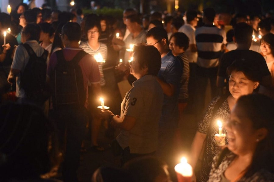 The candlelight vigil for Pastor Raymond at Section 9 in Shah Alam yesterday, 5 March.