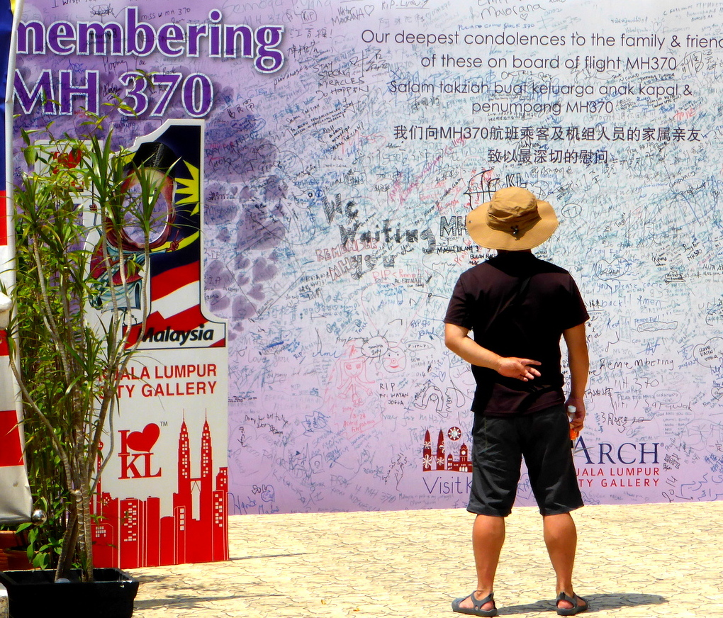 A street signs in Kuala Lumpur remembering the victims of MH370.